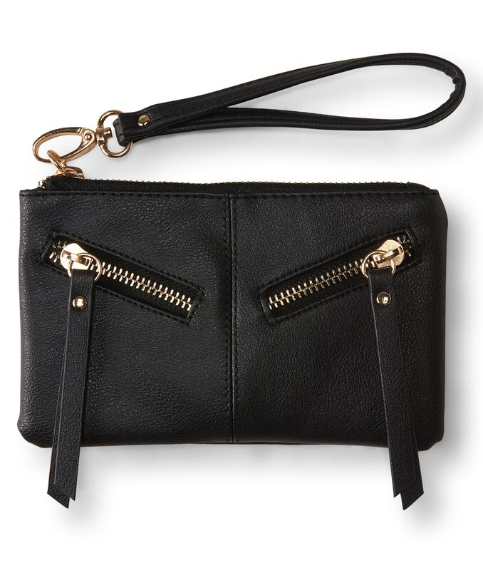 Faux Leather Leash-Strap Wristlet