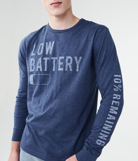 Long Sleeve Low Battery Graphic Tee