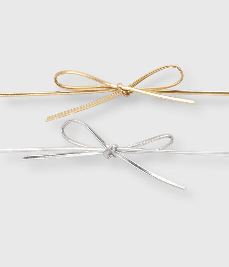 Metallic Bow Short-Strand Choker Necklace 2-Pack