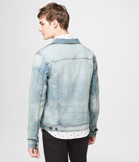 Light Wash Stretch Denim Trucker Jacket