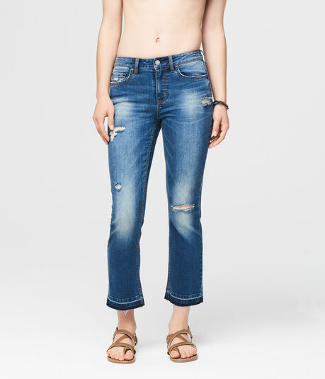 Skinny Kick Flare Destroyed Medium Wash Crop Jean