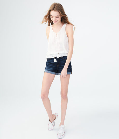High-Waisted Dark Wash Denim Midi Shorts