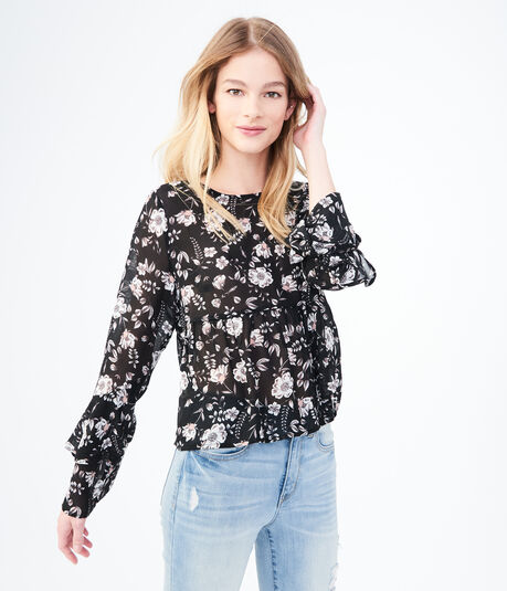 Long Bell Sleeve Floral Ruffle Top