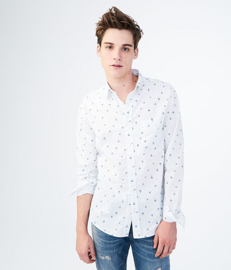 Long Sleeve Sailboats Woven Shirt