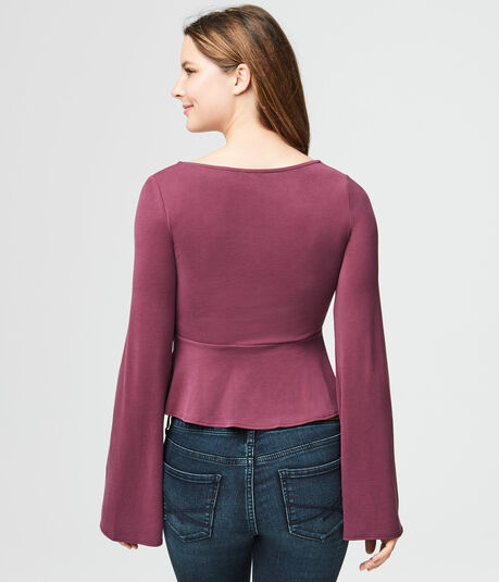 Long Bell Sleeve Tie-Front Top