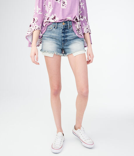 High-Waisted Light Wash Cheeky Denim Shorts