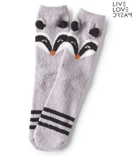 LLD Raccoon Fuzzy Crew Socks
