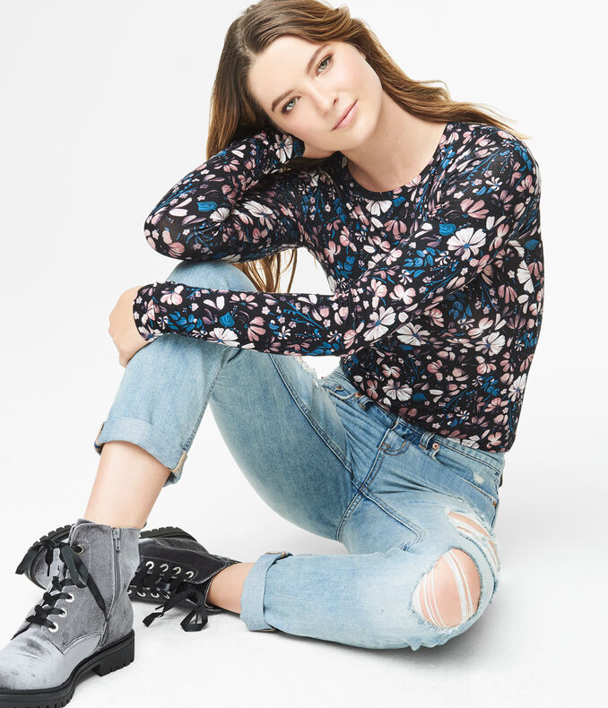 Long Sleeve Seriously Soft Floral Crew Tee