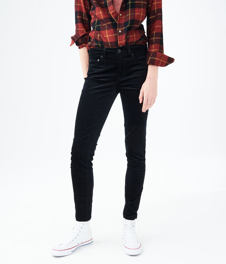High-Waisted Skinny Kick Flare Velvet Pants