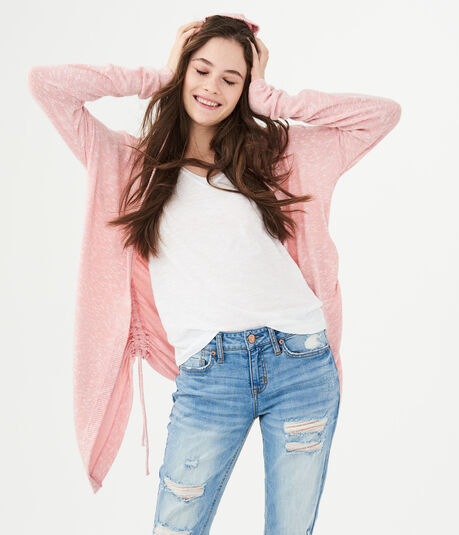 LLD Ruched Hooded Cardigan