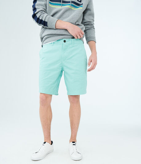 Classic Stretch Flat-Front Chino Shorts