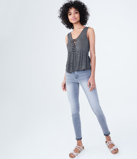 Printed Lace-Up Peplum Tank