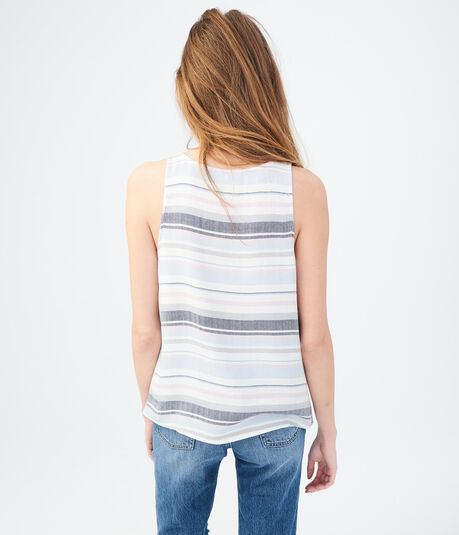 Striped Lace-Up Tank