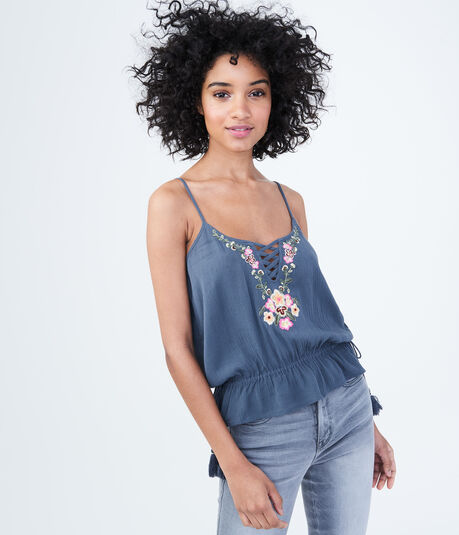 Embroidered Peplum Cami
