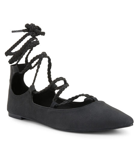 Braided Lace-Up Flat