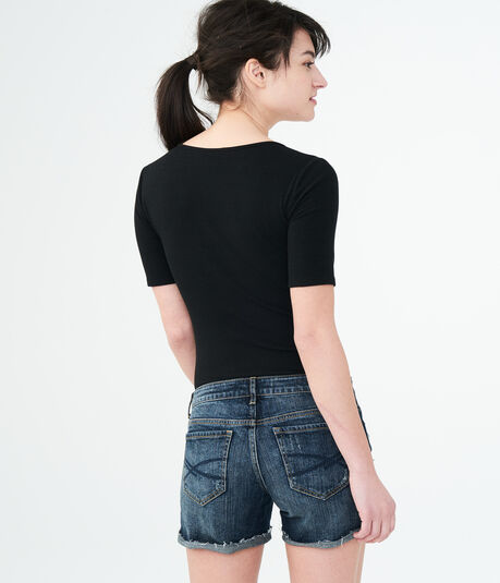 Ribbed Tie-Front Bodycon Tee