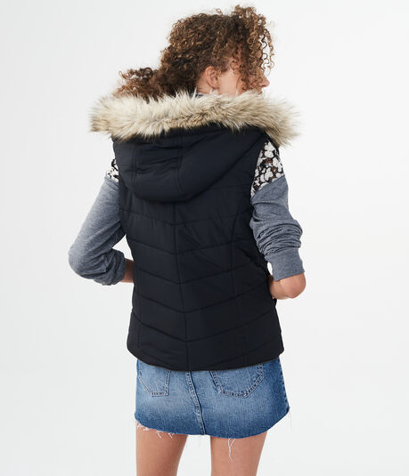 Solid Quilted Fleece-Lined Puffer Vest