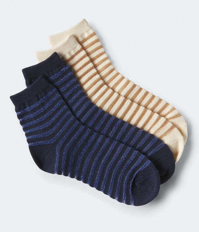 2-Pack Sheer Stripe Crew Socks