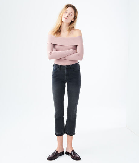 Long Sleeve Ribbed Off-The-Shoulder Top