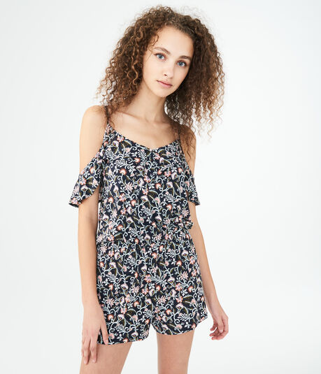 Ditsy Floral Ruffled Cold-Shoulder Romper