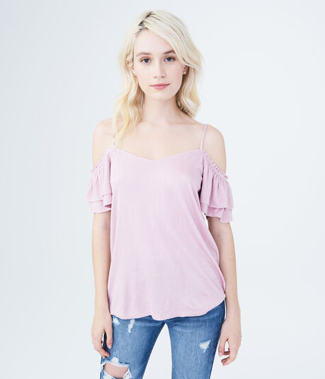 Solid Textured Cold-Shoulder Top