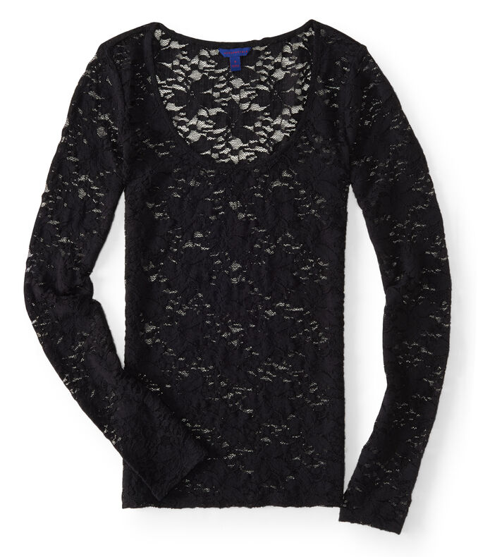 Long Sleeve Sheer Lace Scoop-Neck Top
