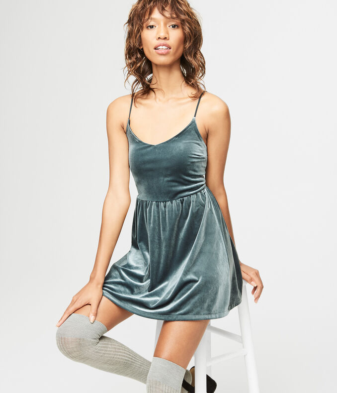 V-Neck Velvet Fit & Flare Dress