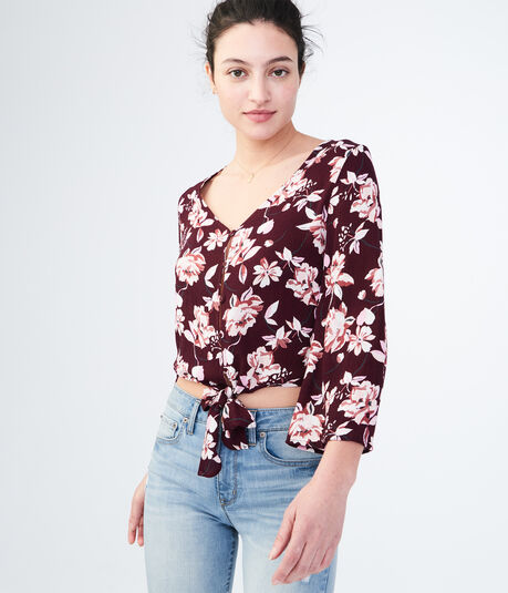 Long Bell Sleeve Floral Button-Up Top