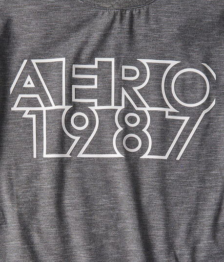 Long Sleeve Aero 1987 Heathered Stretch Graphic Tee