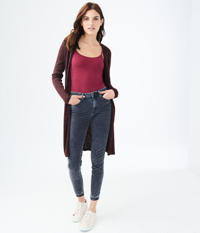 Metallic Split-Hem Cardigan