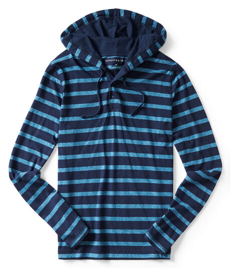 Long Sleeve Striped Hooded Henley
