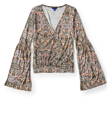 Printed Surplice Top