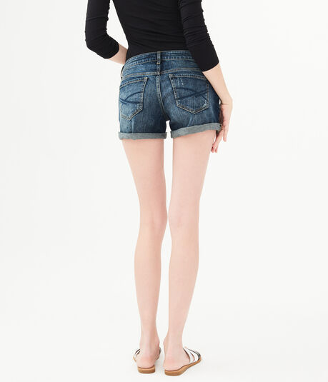Dark Wash Rip-And-Repair Denim Midi Shorts