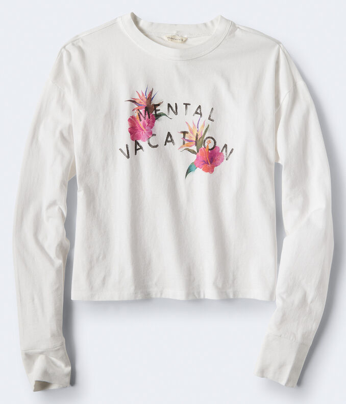 Long Sleeve Mental Vacation Graphic Tee***