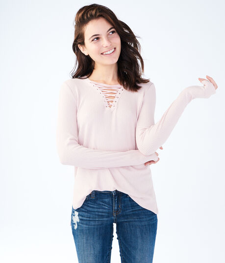 Long Sleeve Seriously Soft Lace-Up Top