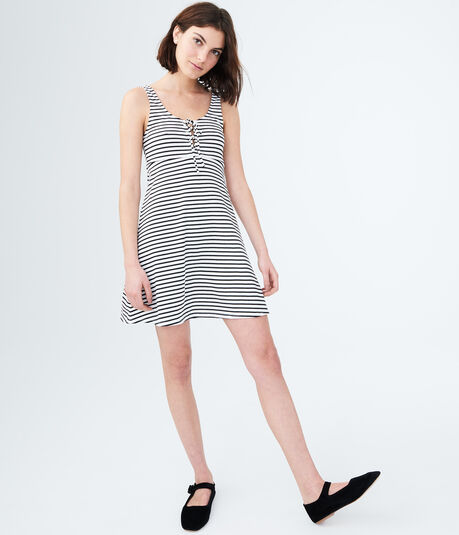 Striped Lace-Up Fit & Flare Dress