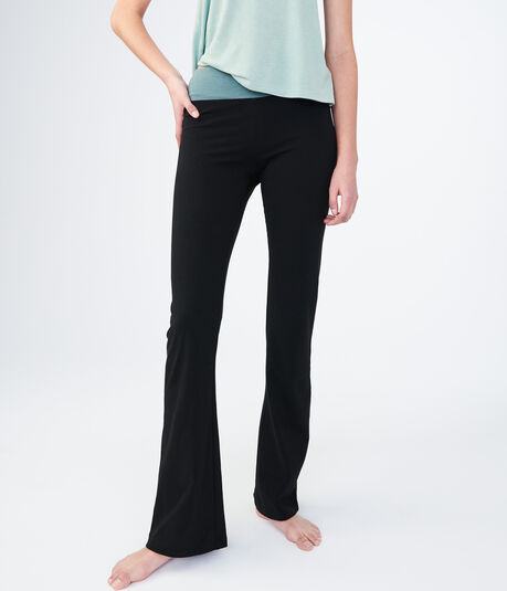 LLD Contrast-Color Waistband Bootcut Yoga Pants***
