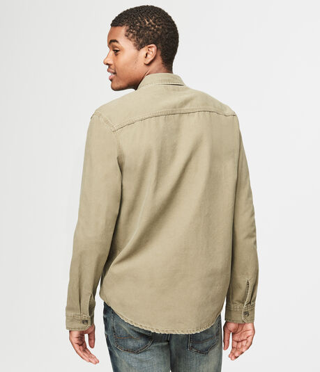 Long Sleeve Canvas Woven Overshirt