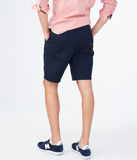 Tiny Dot Stretch Flat-Front Chino Shorts