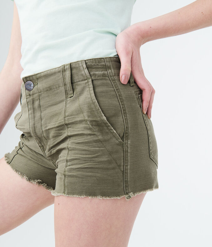 High-Waisted Twill Shorty Shorts | Tuggl