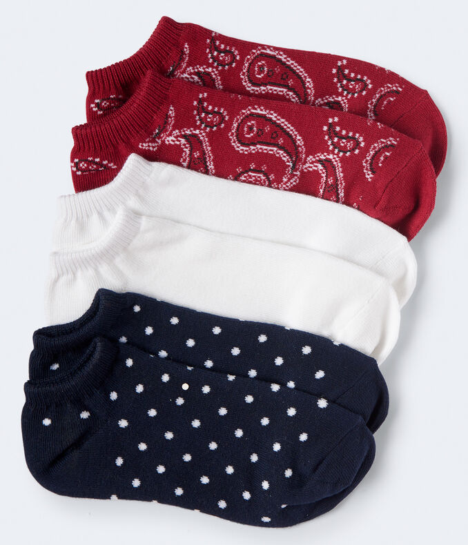 3-Pack Paisley, Dot & Solid Ankle Socks