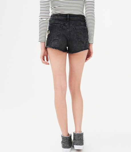 High-Waisted Black Wash Floral Denim Shorty Shorts