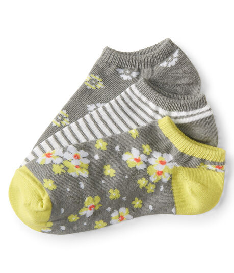3-Pack Floral And Stripe Ankle Socks