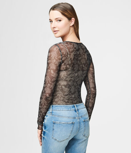Long Sleeve Sheer Floral Mesh Top