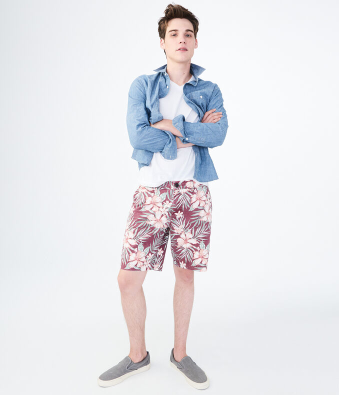 Hibiscus Stretch Flat Front Chino Shorts by Aeropostale