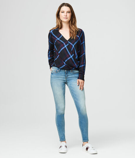 Long Sleeve Plaid Wrap-Front Top