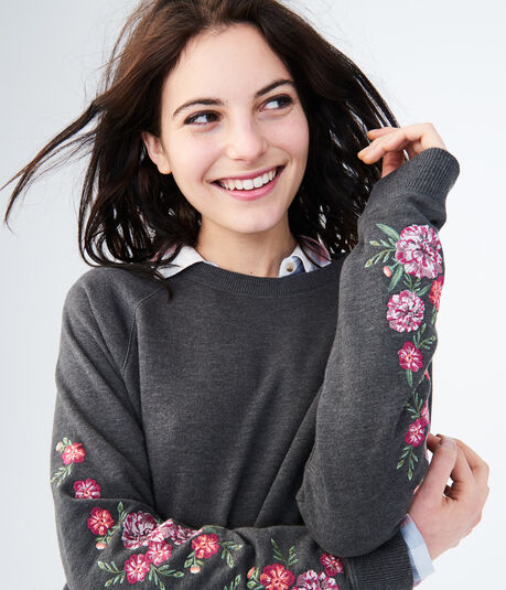 Floral Embroidered Crew Sweatshirt