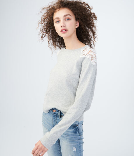 Solid Crochet-Shoulder Sweatshirt