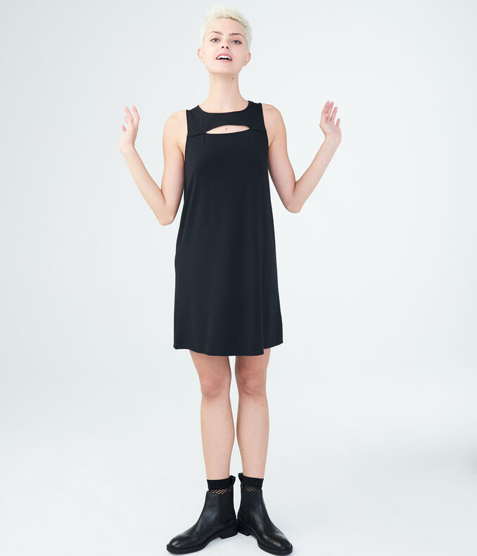 Solid High-Neck Swing Dress