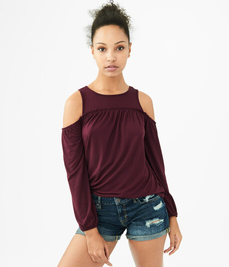 Long Sleeve Cold-Shoulder Ruffled Top